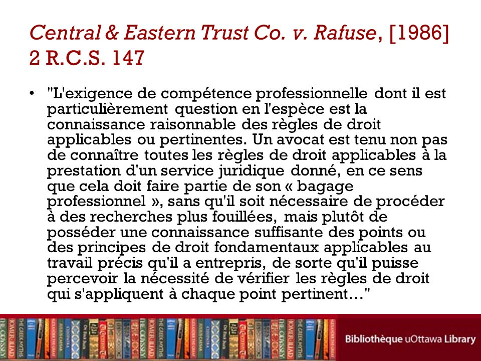 Central & Eastern Trust Co. v. Rafuse, [1986] 2 R.C.S. 147